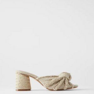 Zara frayed knotted mules tan size 9